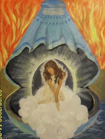 مروارید گمشده نام این تابلوی زیباست که توسط خانم صالحه و هاب واصل نقاشی شده
