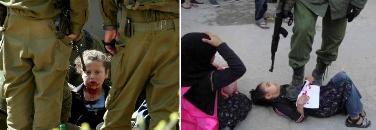از راست به چپ : طفل خردسال فلسطینی در زیر لگد عسکر اسرائیلی و دختر مجروح فلطینی در چنگ سرباز اسرائیلی