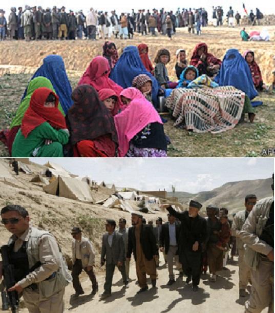 حامد کرزی بعد از شش روز به محل  لغزش کوه درولسوالی ارگوی بدخشان رفت . عکسها از بی بی سی